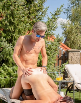 Poolside Orgy for Busty Agents-6