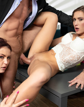 Cindy Shine and Mina, Anal Threesome at the Office-8