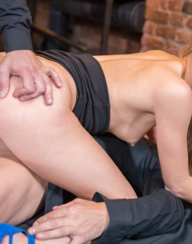 Alexis Crystal & Two Hung Waiters Have a DP Trio in a Bar -9