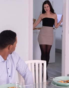 Cassie Fire, wears lingerie for an interracial anal-2
