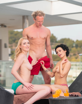 Stacy Bloom and Amaris Enjoy Threesome by the Pool-3