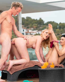 Stacy Bloom and Amaris Enjoy Threesome by the Pool-6