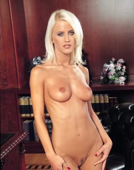Blonde Babe Cintia Spills Cum on Her Perky Tits -2