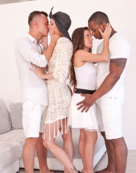 Belle Claire and Anita Bellini, interracial orgy with DP -4