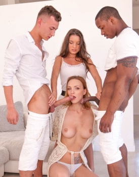 Belle Claire and Anita Bellini, interracial orgy with DP -6