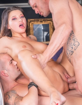 Biker chick Anna Polina enjoys threesome & DP-9