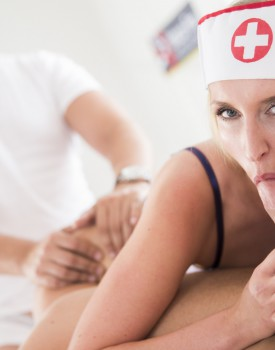 Naughty Nurse Jenny Simons Treats Two Patients to all her Holes-6