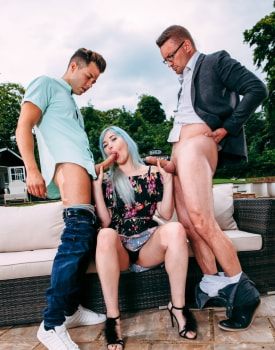 Misha Mayfair debuts in Private with DP in the garden-3