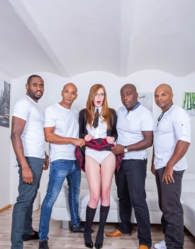 Schoolgirl Linda Sweet Enjoys Double Anal in Interracial Gangbang-3