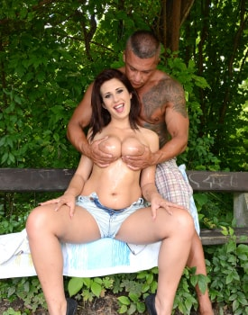 Ayda Swinger and Her Big Natural Tits Fuck in the Park-1
