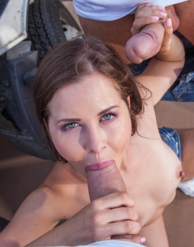 Cassie Fire, horny hitchiker in an anal threesome with two truckers -6