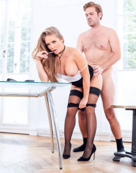 Alessandra Jane Blonde Secretary fucks the boss on her first day-6