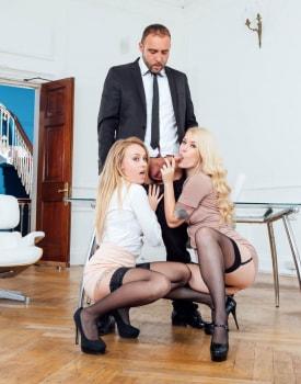 Secretaries Misha Cross and Carmel Andersson in anal threeway-3