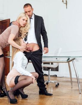 Secretaries Misha Cross and Carmel Andersson in anal threeway-4