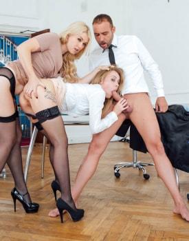 Secretaries Misha Cross and Carmel Andersson in anal threeway-8